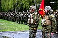 U.S. Marines and Sailors with the 3rd Battalion, 8th Marine Regiment, assigned to Black Sea Rotational Force 14-2, participate in the opening ceremony for exercise Platinum Lynx 14-5 in Vatra Dornei, Romania, May 5, 2014.jpg