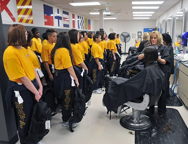 File:U.S. Navy recruits receive their first haircuts ...
