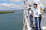 U.S. Soldiers, Sailors and civilians man the rails aboard the hospital ship USNS Mercy (T-AH 19) as the ship arrives at Joint Base Pearl Harbor-Hickam, Hawaii, Sept 120902-N-GL340-029.jpg