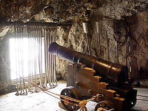 Great Siege of Gibraltar - One of the many guns and embrasures within the Great Siege Tunnels.