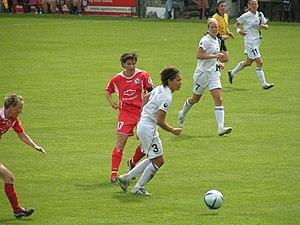 Jane Törnqvist - Jane Törnqvist (with ball) for Djurgården/Älvsjö against 1. FFC Turbine Potsdam in the 2005 UEFA Women's Cup Final.