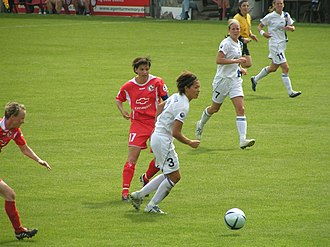 Jane Törnqvist - Jane Törnqvist (with ball) for Djurgården/Älvsjö against 1. FFC Turbine Potsdam in the 2005 UEFA Women's Cup Final.