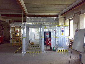 Asbestos abatement - Typical UK temporary enclosure used for asbestos removal