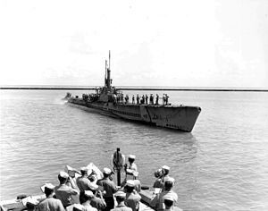 Cabrilla (SS-288) returns from patrol.