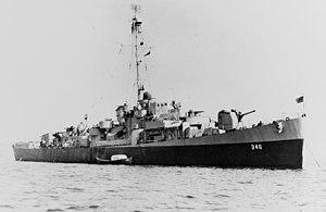 USS Edwin A. Howard (DE-346) at anchor, circa in 1945 (NH 73262).jpg