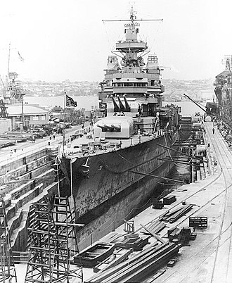 Naval Battle of Guadalcanal - Portland undergoing repairs in dry dock in Sydney, Australia, a month after the battle
