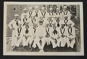 Clarence Samuels - Clarence Samuels on board USCGC Earp in 1921 (Back Row - Top left)