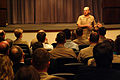 US Navy 030414-N-2383B-514 Admiral Vern Clark, Chief of Naval Operations (CNO), speaks to personnel about Fleet Readiness and Logistics.jpg