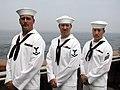 US Navy 030610-N-9923P-001 The mine countermeasure ship USS Patriot (MCM 7) crewmembers (from left to right) Mineman 3rd Class Robert A. Kapsa Jr., Mineman 3rd Class Lawrence E. Stolinski and Mineman Seaman David B. Wages stand.jpg