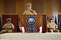 US Navy 081212-N-9818V-122 Chief of Naval Operations (CNO) Adm. Gary Roughead delivers remarks at the Passing of the Cutlass and retirement ceremony in honor of retiring Master Chief Petty Officer of the Navy (MCPON) Joe R. Cam.jpg