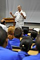 US Navy 090407-N-8273J-242 Chief of Naval Operations (CNO) Adm. Gary Roughead speaks with students at the Maritime Warfare School while visiting Simon's Town Naval Base.jpg