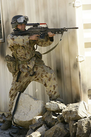 US Navy 090722-M-9065A-072 An Australian Defence Force (ADF) Soldier fires a F89 Minimi at the Urban Operations Training Facility during Exercise Talisman Saber 2009.jpg