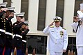 US Navy 100430-N-8273J-044 Adm. Gary Roughead salutes during the arrival of the official party during the Naval Reserve Officers Training Corps commissioning ceremony at Florida A^M University.jpg