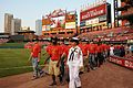 US Navy 110902-N-MZ294-312 Members of the 53rd Cardinal Company march onto the field at Busch Stadium to be sworn into the Navy.jpg