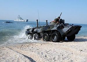 Ukrainian Naval Infantry - A Ukrainian Naval Infantry BTR-80 takes part in Exercise Sea Breeze 2010.