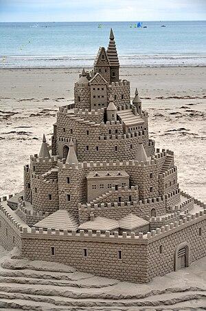A very impressive sand castle on the beach nea...