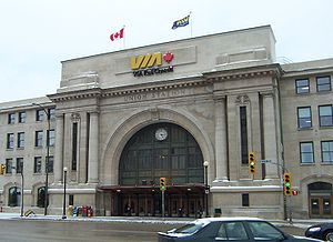 Union Station (Winnipeg) - The main entrance to Union Station.