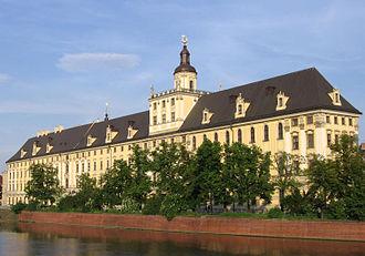 Eugen Rosenstock-Huessy - The main building of the University of Wrocław (Breslau), seen from the Pomeranian Bridge (Most Pomorski) spanning the Oder River.