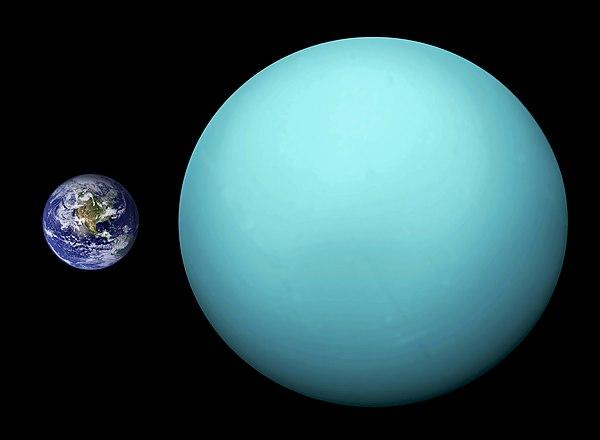 Uranus planet yang terbesar ketiga dan terberat keempat dalam Tata Surya dibandingkan dengan planet Bumi.