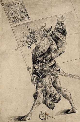 Juliusbanner - Bearer of the Juliusbanner of Zug, drawing by Urs Graf, dated 1521. The banner is shown with a Zwickelbild of the descent from the cross.