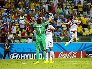 Keylor Navas - Navas and Giancarlo González celebrating Costa Rica's victory over Uruguay at the 2014 FIFA World Cup