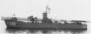 USS Hunting (LSM-398) - USS Hunting following her 1954 conversion to a Sonar Research Ship