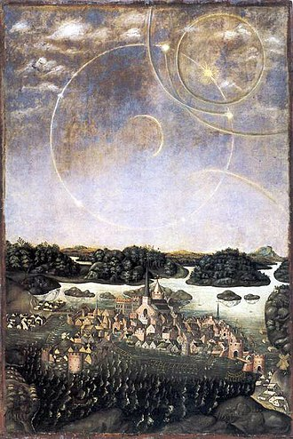 "History of Stockholm - Vädersolstavlan (""The Sun dog Painting""), the oldest image depicting Stockholm. The original painting, painted by Urban målare in 1535, is lost, this copy from the 1630s, painted by Jacob Elbfas, hangs in Storkyrkan."