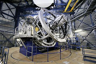 VISTA (telescope) - Inside its enclosure (Credit: ESO)