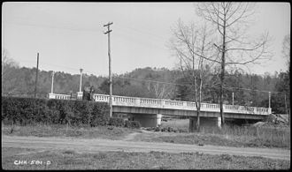 Valley River - U.S. Route 19 bridge over the Valley River at Murphy, North Carolina in 1937