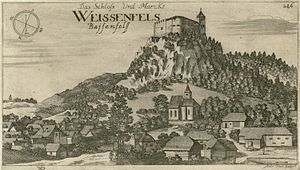 Weissenfels Castle - Weissenfels Castle in a 1679 engraving by Valvasor