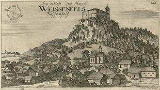 Weissenfels Castle - Weissenfels Castle in a 1679 engraving by Valvasor