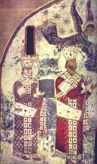 Tamar of Georgia - Tamar (left) and George III (right). The earliest surviving portrait of Tamar from the church of the Dormition at Vardzia, c. 1184–1186.