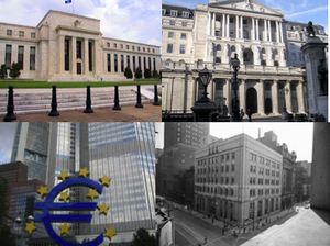 Clockwise from top-left: Federal Reserve, Bank...