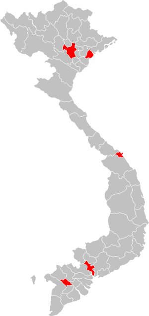 Municipalities of Vietnam - Map of Centrally governed cities in Vietnam