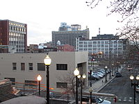 View of Downtown Bridgeport from stairs next to Cabaret Theater.JPG