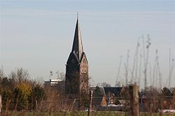 View on church of Bocholtz from Orsbacherweg.JPG