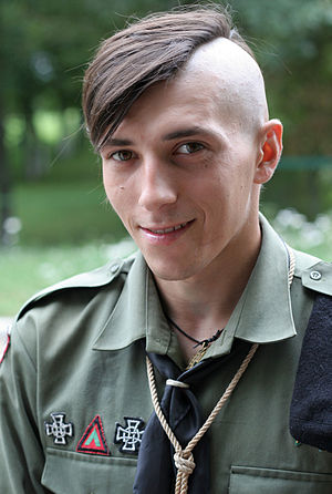 "Viktor Gurniak - In Ukrainian scout uniform during a camp ""Legion"" in Volyn' region, August 17, 2008"