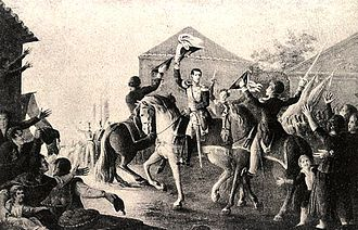April Revolt - D. Miguel rides into Bemposta, during the events of the Vilafrancada, declaring his support for absolute monarchy