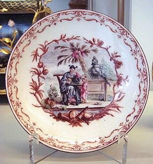 Assiette Porcelaine Decor Serviette Papier Motif Rose