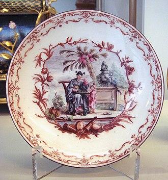 Vincennes porcelain - Vincennes soft porcelain plate, 1749-1753.