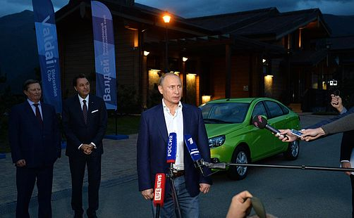 Vladimir Putin with Bo Andersson and Sergey Ivanov after test drive of LADA Vesta - October 2015