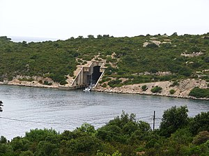 Vis (island) - Entrance to submarine pen on Vis, Croatia.