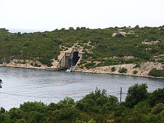 Vis (island) - Entrance to the patrol boat pen on Vis, Croatia.