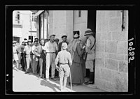 Volunteer queue outside government offices, waiting to register, mostly Jews LOC matpc.19893.jpg