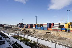 Vuosaari shipyard - Partially backfilled dry dock in March 2016.