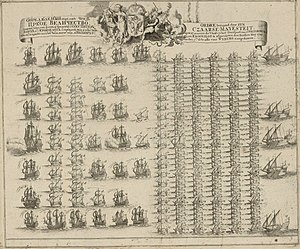 Siege of Viborg (1710) - A contemporary illustration of the Russian fleet that arrived at Vyborg