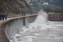 Waves breaking on the sea wall at Teignmouth (0128).jpg