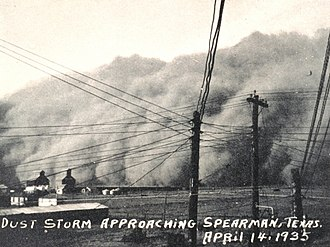 Dust Bowl - A dust storm; Spearman, Texas, April 14, 1935