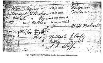 John Shying - Marriage Register to Bridget Gillorley