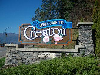 Creston, British Columbia - Creston's welcome sign